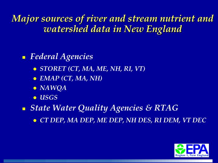 Major sources of river and stream nutrient and watershed data in New England