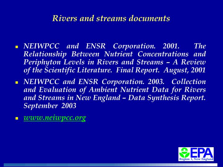Rivers and streams documents