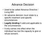advance decision