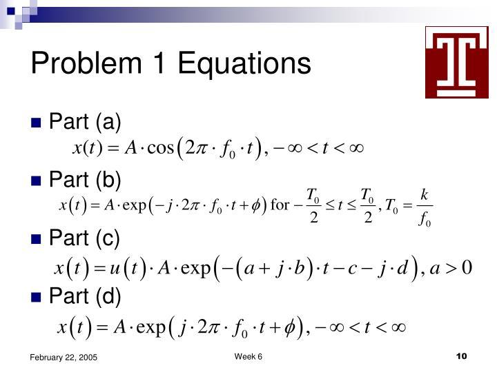 Problem 1 Equations