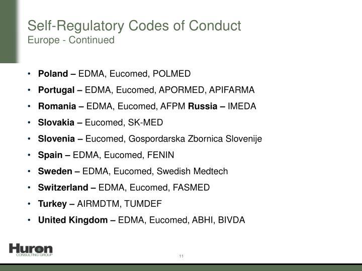 Self-Regulatory Codes of Conduct