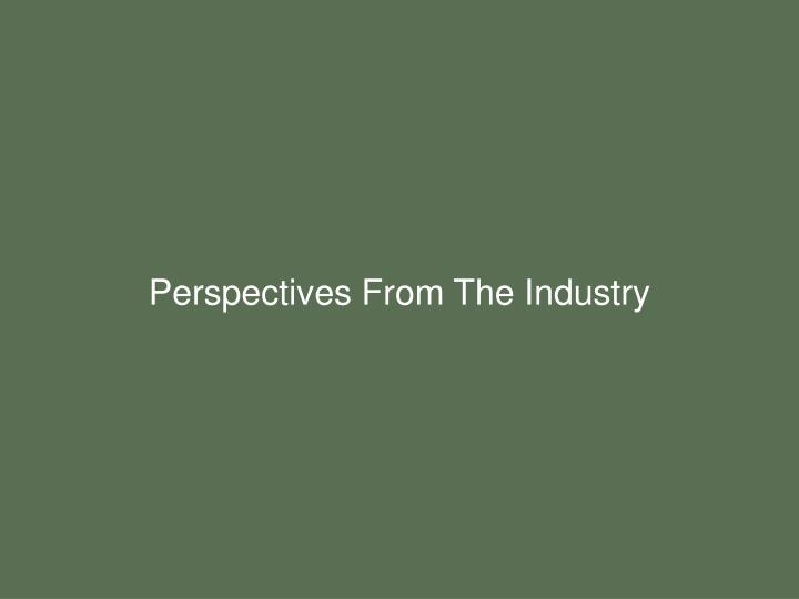 Perspectives From The Industry