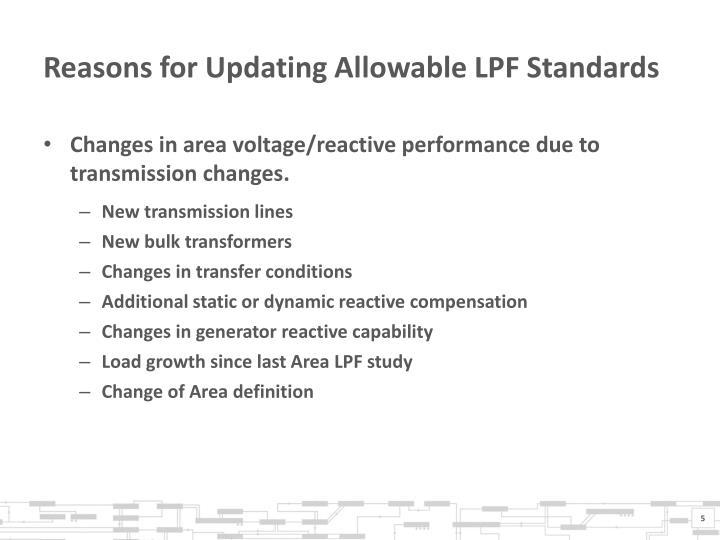 Reasons for Updating Allowable LPF Standards