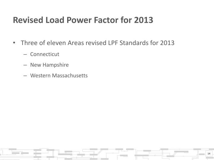 Revised Load Power Factor for 2013