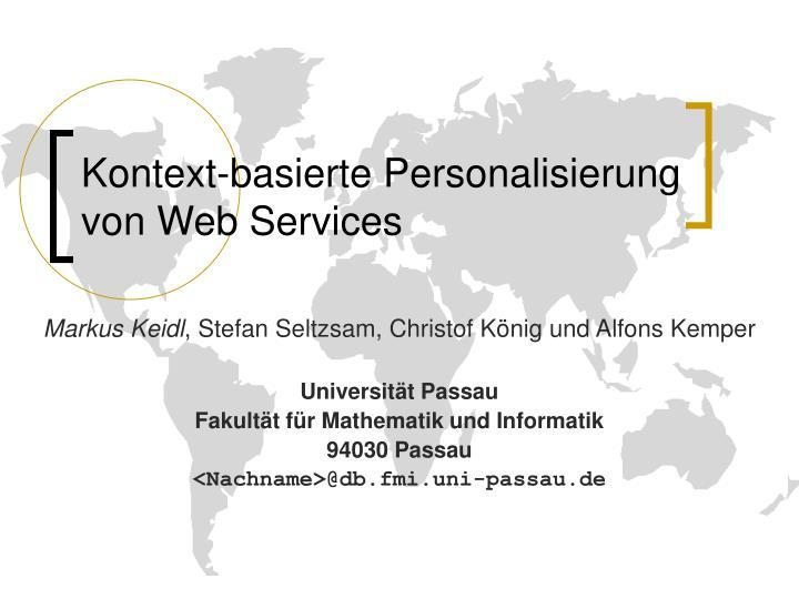 Kontext basierte personalisierung von web services