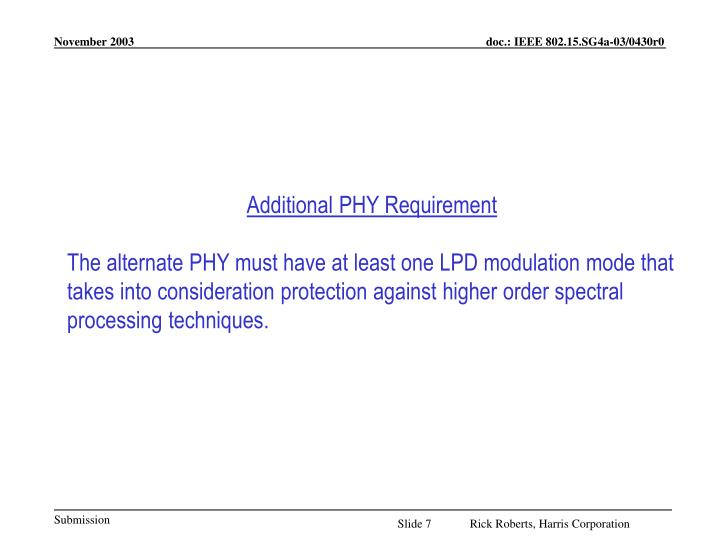 Additional PHY Requirement