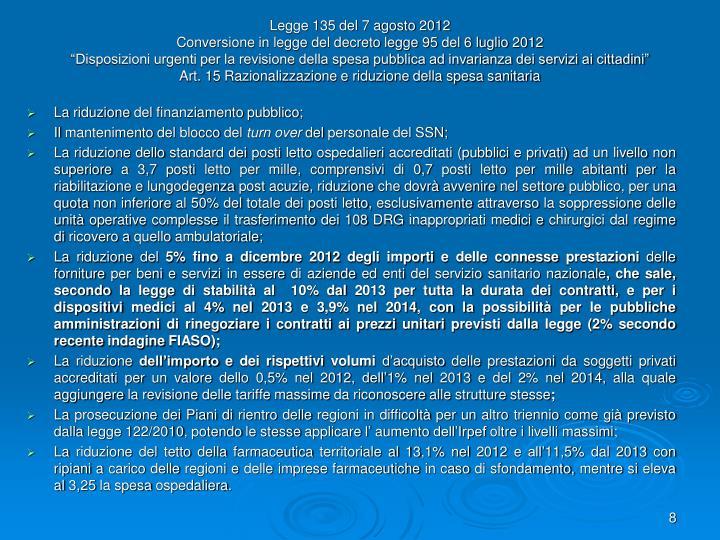 Legge 135 del 7 agosto 2012
