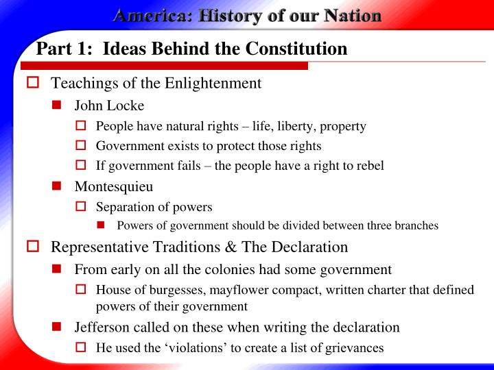 Part 1:  Ideas Behind the Constitution