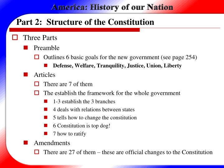 Part 2:  Structure of the Constitution