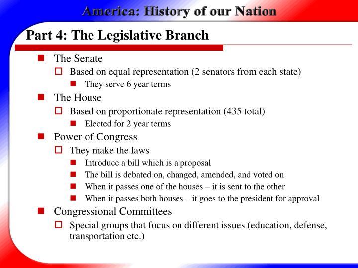 Part 4: The Legislative Branch