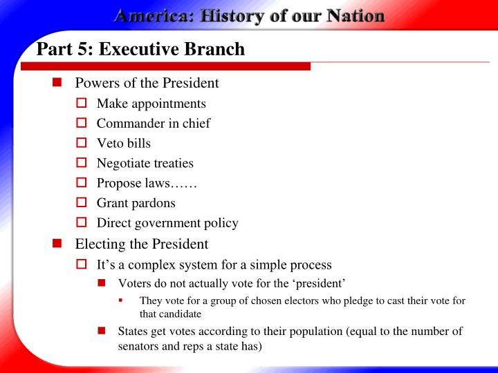 Part 5: Executive Branch