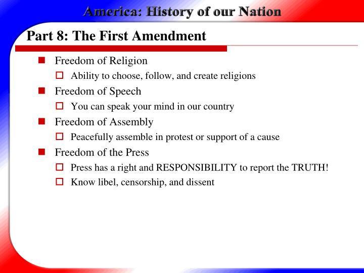 Part 8: The First Amendment