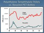 polyethylene terephthalate pellets vs recycled pet bottles