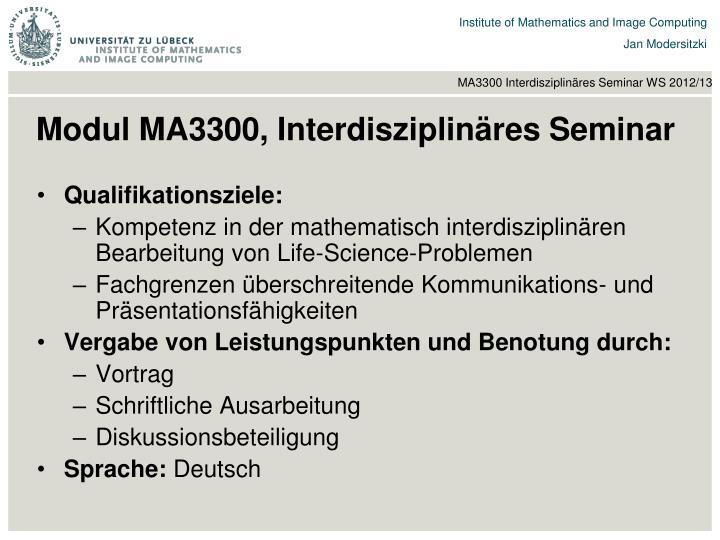 Modul MA3300, Interdisziplinäres Seminar