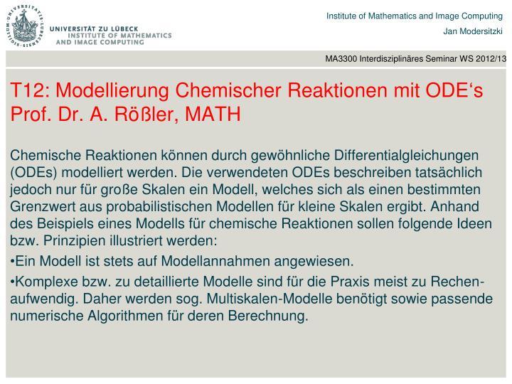 T12: Modellierung Chemischer Reaktionen mit ODE