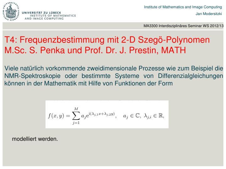T4: Frequenzbestimmung mit 2-D Szegö-Polynomen