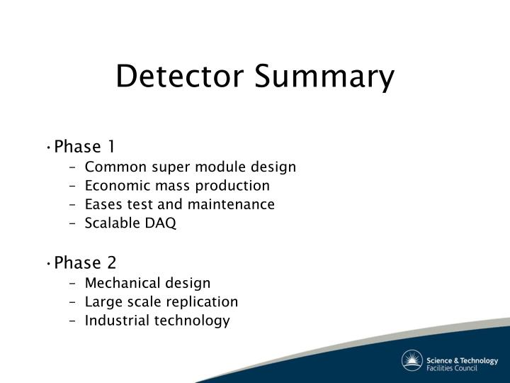 Detector Summary