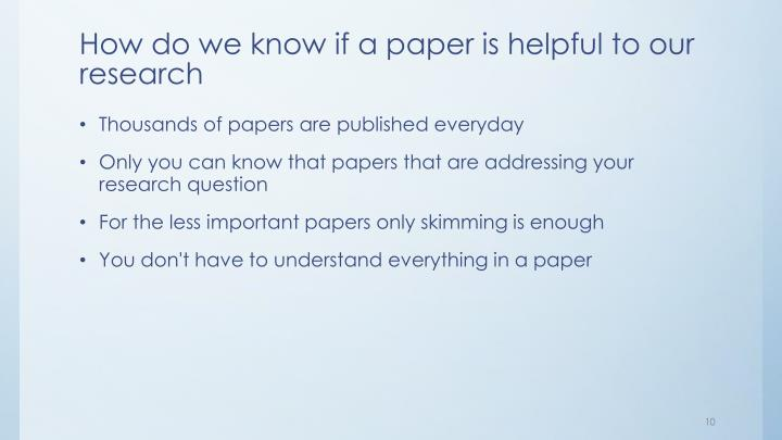 How do we know if a paper is helpful to our research