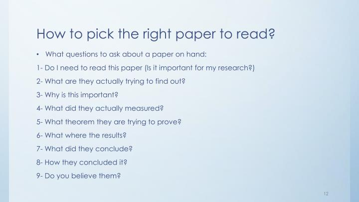How to pick the right paper to read?