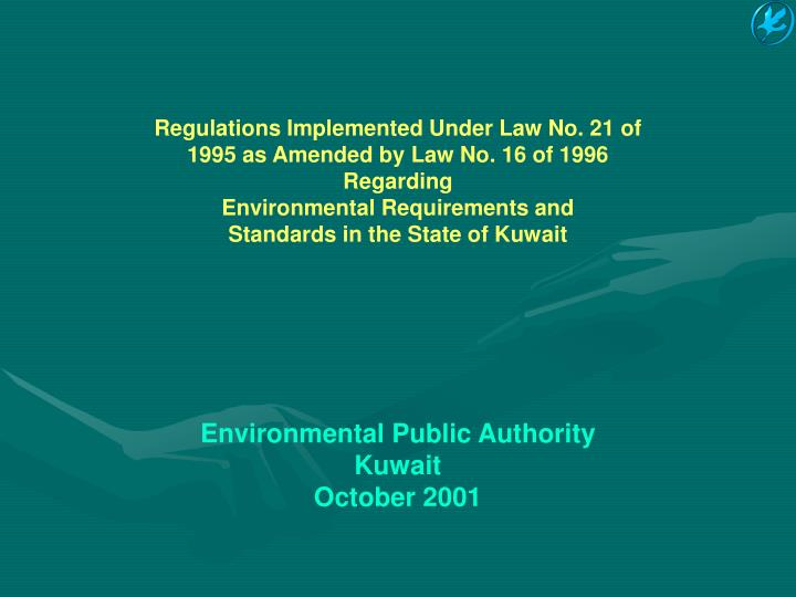 Regulations Implemented Under Law No. 21 of