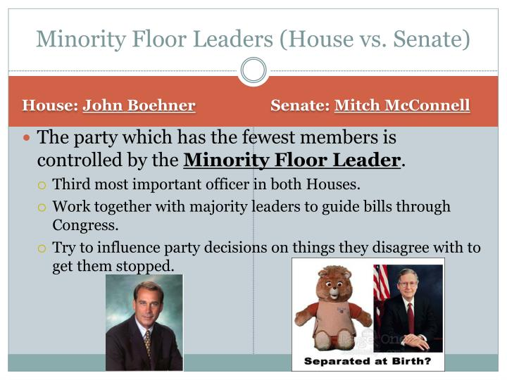 Minority Floor Leaders (House vs. Senate)
