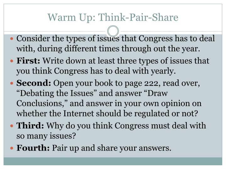 Warm Up: Think-Pair-Share