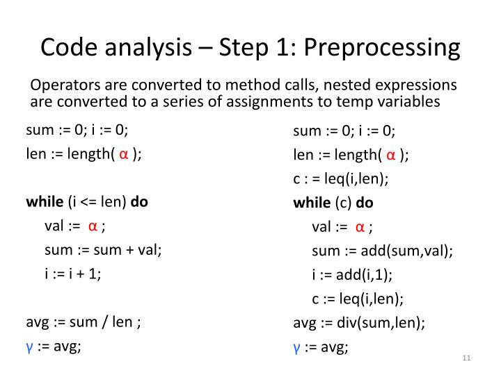 Code analysis – Step 1: Preprocessing