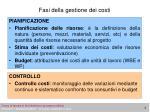 fasi della gestione dei costi