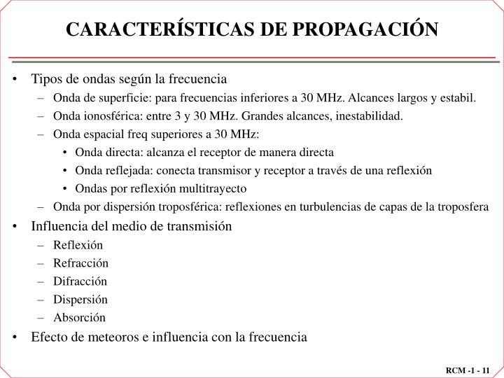 CARACTERÍSTICAS DE PROPAGACIÓN