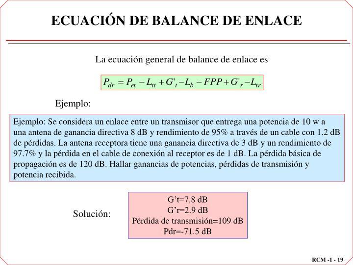 ECUACIÓN DE BALANCE DE ENLACE
