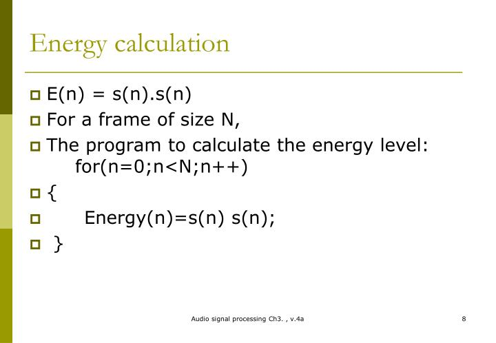 Energy calculation