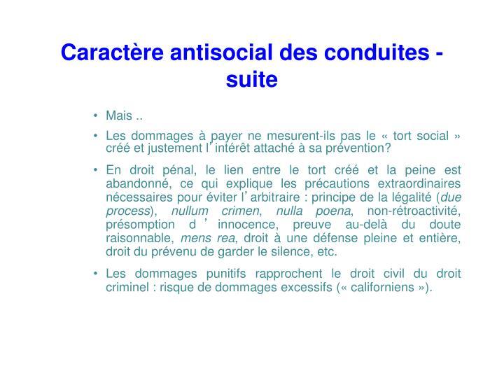 Caractère antisocial des conduites - suite