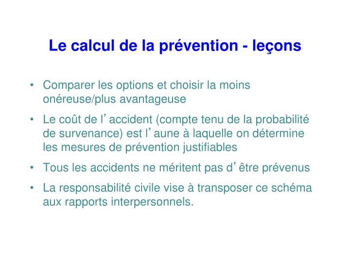 Le calcul de la prévention - leçons