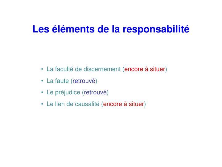 Les éléments de la responsabilité