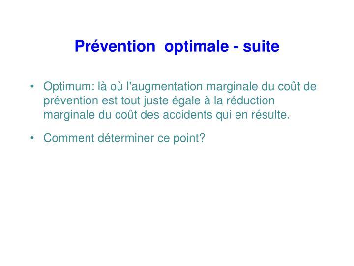 Prévention  optimale - suite