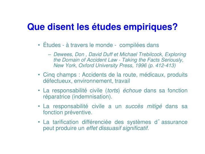 Que disent les études empiriques?