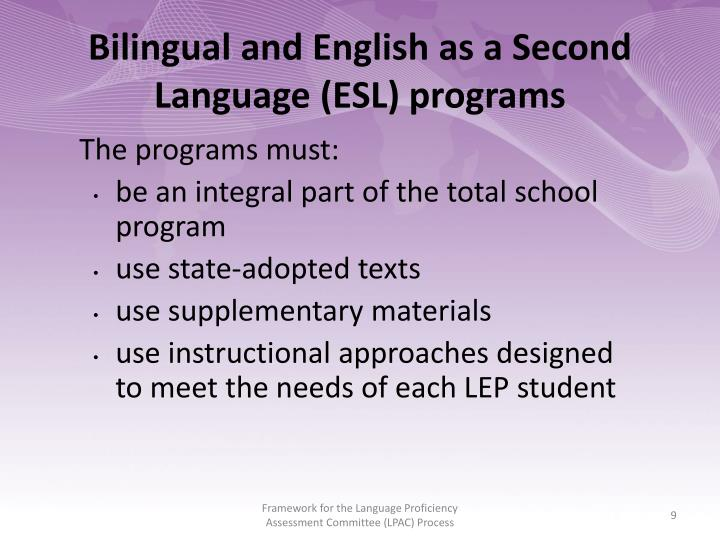 Bilingual and English as a Second Language (ESL) programs