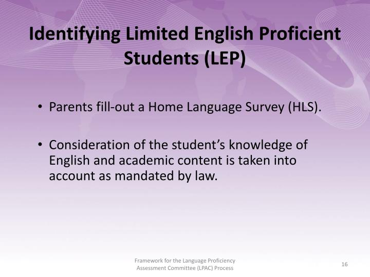 Identifying Limited English Proficient Students (LEP)