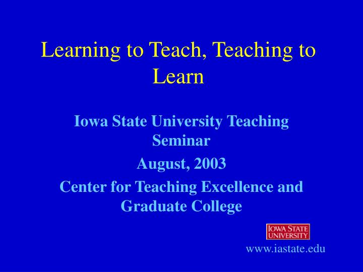 learning to teach teaching to learn n.