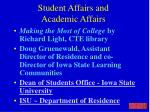 student affairs and academic affairs