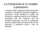 la introduzione di un modello a preclusioni