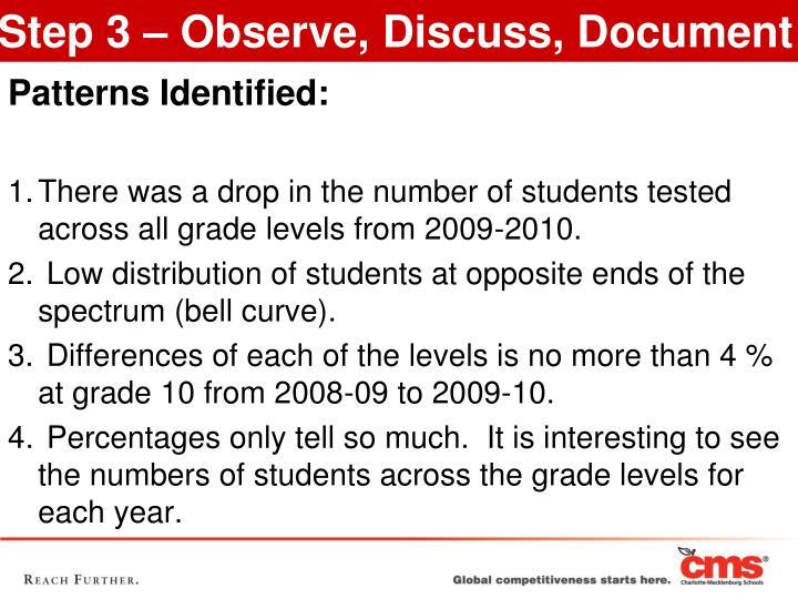 Step 3 – Observe, Discuss, Document