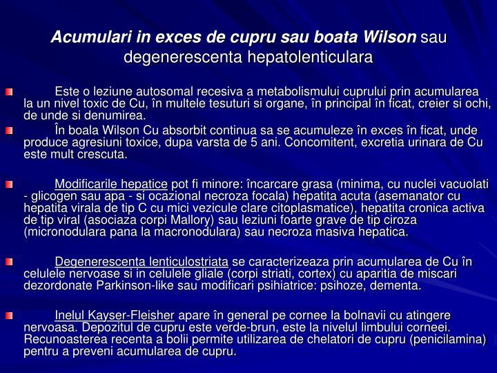 Acumulari in exces de cupru sau boata Wilson