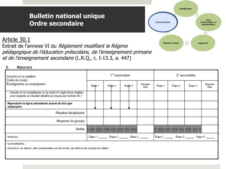 Bulletin national unique
