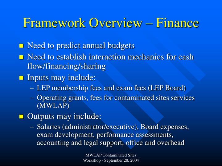 Framework Overview – Finance