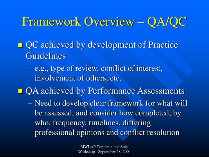Framework Overview – QA/QC