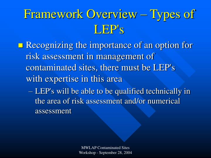Framework Overview – Types of LEP's