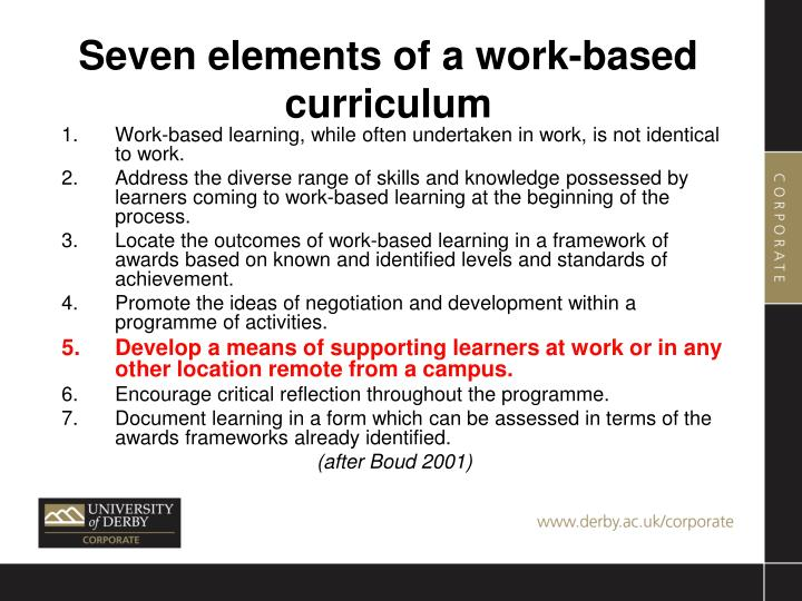 Seven elements of a work-based curriculum
