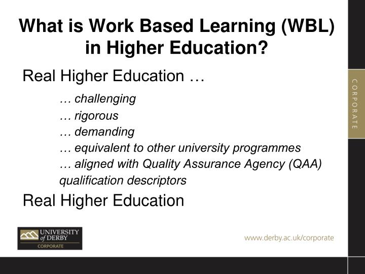 What is work based learning wbl in higher education