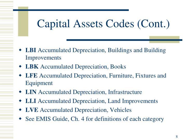Capital Assets Codes (Cont.)